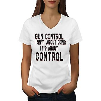 Amendment Guns Women WhiteV-Neck T-shirt | Wellcoda