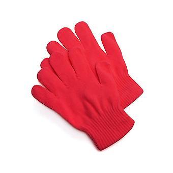 Gants tricotés rouge