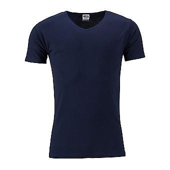 James og Nicholson Mens Slim-Fit V hals t-skjorte