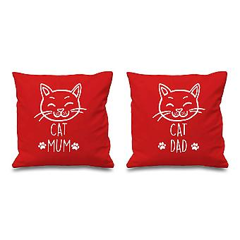 Cat Mum Cat Dad Red Cushion Covers 16