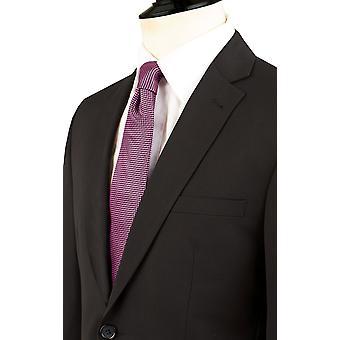 Dobell Mens zwart pak jasje Fit Regular Notch revers
