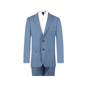 Dobell Mens Light Blue 2 Piece Suit Regular Fit Notch Lapel