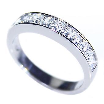 Ah! Bijoux gravés I Love vous maman simulé diamants princesse coupe demi Eternity Band