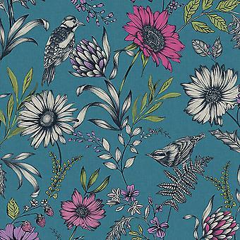Botanische tuin Songbird groen blauw behang bloemen Wintertaling roze Arthouse
