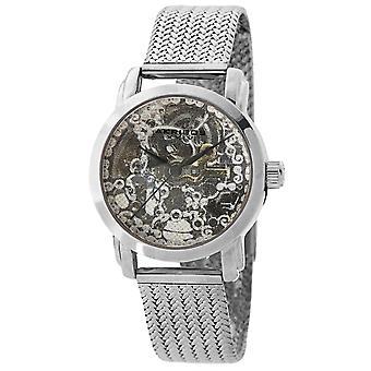 Akribos XXIV AKS191107SS Women's Skeleton Automatic Textured Mesh Bracelet Watch