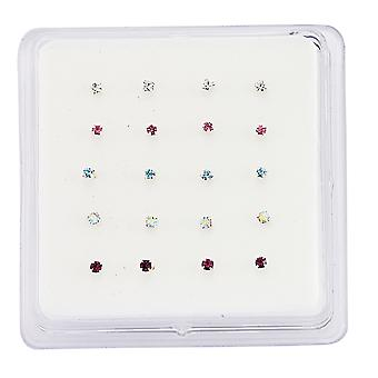 Jewelco London Rhodium Plated Sterling Silver Multi Coloured Round Brilliant Crystal Pack of 20 Nose Studs