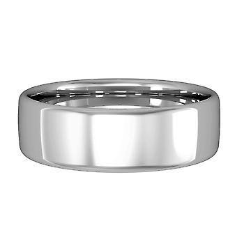 Κοσμήματα του Λονδίνου 9ct λευκό χρυσό-6mm βασική Bombe μπάντα σε σχήμα Δικαστηρίου δέσμευση/δαχτυλίδι γάμου