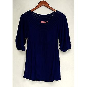 Ava Rose Lattice Embellished 3/4 Sleeve Tee Lapis Blue Top Femmes