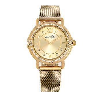 Sophie and Freda Reno Bracelet Watch w/Swarovski Crystals - Gold