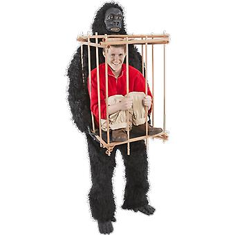 Adulto Gorilla & gabbia Halloween Costume King Kong Ape Animal Film Fancy Dress