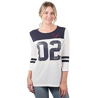 ICER Marche NFL Houston Texans Donne's T-Shirt Vintage 3/4, Bianco, Taglia Grande