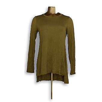 LOGO by Lori Goldstein Women's Top LOGO Layers Solid Knit Green A299603