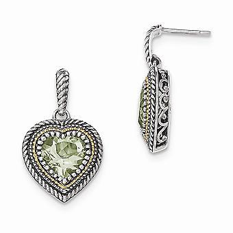 925 sterlinghopeaa 14k vihreä ametisti rakkaus sydän dangle post korvakorut korut lahjat naisille