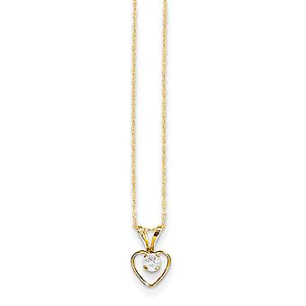 14k Yellow Gold Polished Spring Ring 3mm White Zircon Heart for boys or girls pendant 15 Inch - Measures 10x6mm