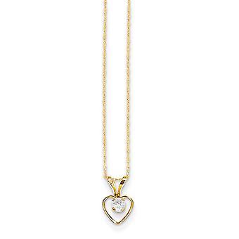 14k Gelb Gold poliert Federring 3mm White Zirkon Herz für Jungen oder Mädchen Anhänger 15 Zoll - Maßnahmen 10x6mm