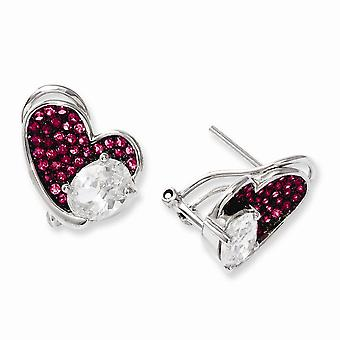 925 Sterling Silver Omega back Rhodium plated and CZ Cubic Zirconia Simulated Diamond Brilliant Embers Pink Love Heart P