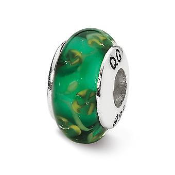 925 Sterling Silver Polished Antique finish Reflections Green Hand-blown Glass Bead Charm