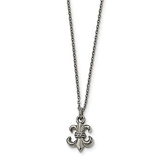 Stainless Steel Fancy Lobster Closure Polished Fleur De Lis With 2 Inch Ext. Necklace 18.75 Inch Jewelry Gifts for Women