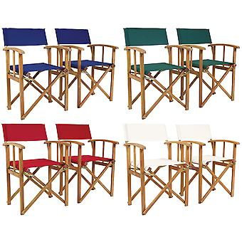 Charles Bentley FSC Eukalyptus Wooden Pair of Directors Chairs-Fully Assembled in Teal/Cream & Green