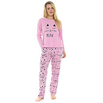 Ladies 100% Jersey Cotton PussyCat Print Pyjama Set Loungewear