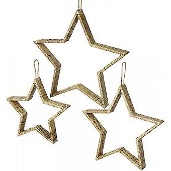 Bamboo Rattan Hanging Star Set