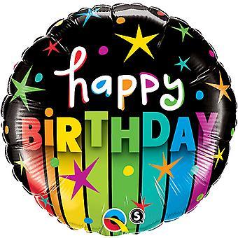 Qualatex 18 Inch ronde Happy Birthday kleur strepen folie ballon