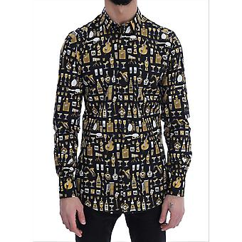Schwarz Slim Fit Gold Jazz Shirt