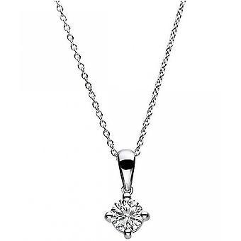 الماس كولير كولير - 14K 585 الذهب الأبيض - 0.25 قيراط.