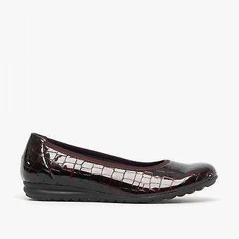 Gabor Splash Ladies Lær ballerina sko Merlot krokodille