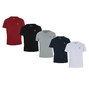 Mens Crosshatch Carino 5 Pack T-Shirt In Multi Colour- One Black, One Grey, One