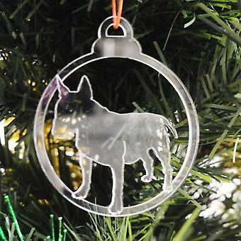 犬安物の宝石をクリア アクリル クリスマス装飾 6 個パック - ブルテリア