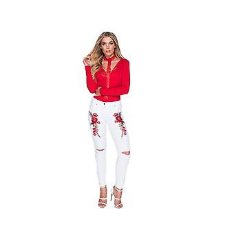 P UK Floral Embroidered Ripped Jeans