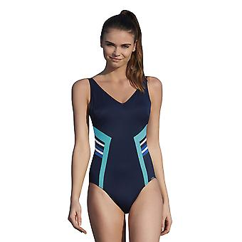 Sunflair 22316-26 Women-apos;s Modern Cubes Blue Soft Cup High Back Shaping Maillot de bain