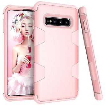 Voor Samsung Galaxy S10 Case, Rose Gold Armour TPU & PC Grip Back Cover