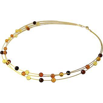 GEMSHINE ketting met drijvende ambers FLOAT verguld met helling