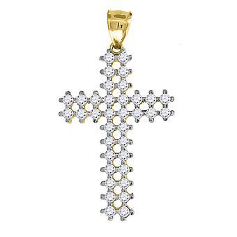 10k Due Toni Oro Mens Donne Cubica irconia C'È Croce Fascino Religioso Condonte CotogioNo Misure 41.9x22.80mm Regalo Gioielli