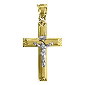 10k Arany Két hang Férfi Kereszt feszület magassága 49.6mm X Szélesség 25mm Vallási Charm Medál Nyaklánc Ékszer Ajándékok férfiaknak