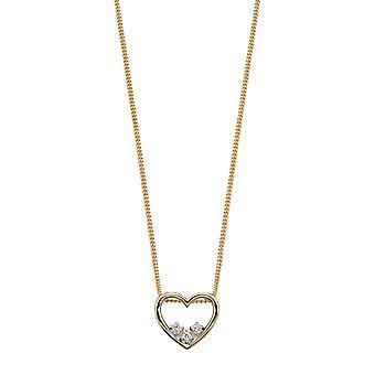Joshua James Precious 9ct keltainen kulta & timantti Dainty avoin sydän riipus