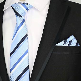 Blue black & white stripe necktie & pocket square set
