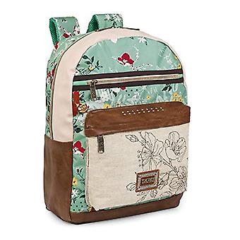 SKPAT - Backpack for casual women design. Top handle and adjustable stripes. 2 front pockets. Printed and embroidered canvas - Synthetic leather. Quality. Ideal for everyday. 301604 Color Beige