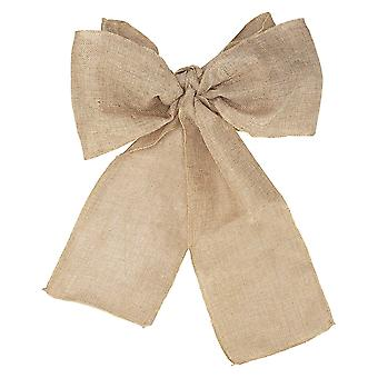 Plain Vintage Hessian Sashes Chair Cover Bows Sewed Edge