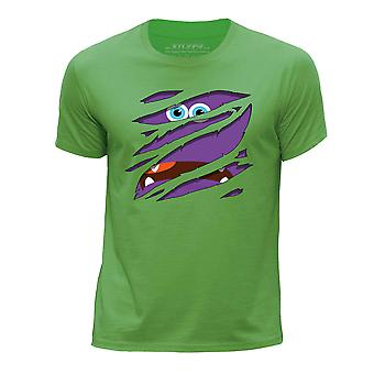 STUFF4 Boy's Round Neck T-Shirt/Large Rip/Purple Monster/Green