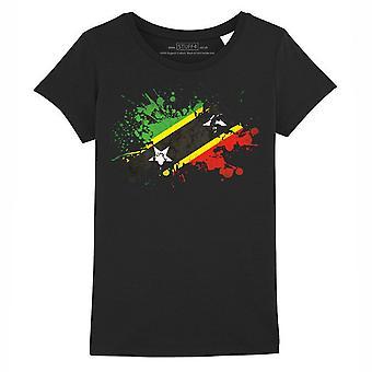 STUFF4 Girl's Round Neck T-Shirt/Saint Kitts and Nevis Flag Splat/Black