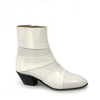 Shuperb Enrique Mens Cuban Heel Reptile Leather Boots Blanc