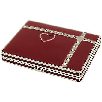 FMG Red Heart Rectangle True Image & 2x Magnification Compact Mirror In Presentation Box SC1205