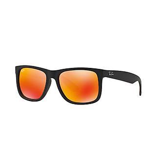 Ray-Ban Justin RB4165 622/6Q Black Rubber/Brown Mirror Orange Sunglasses