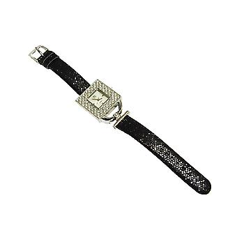 Yess Black and Silver Ladies Square Cz Set Black Strap Dress Watch F48365