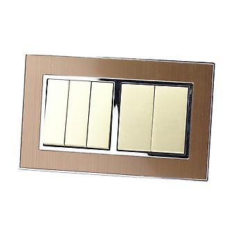 I LumoS AS Luxury Gold Satin Metal Double Frame 5 Gang 2 Way Rocker Light Switches