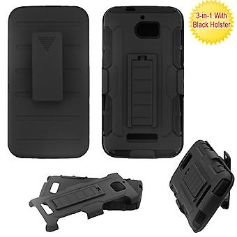 ASMYNA Black/Black Advanced Armor Stand Protector Cover Combo w/ Holster for 3632 (Defiant)