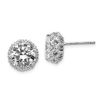 925 Sterling Argent Rhodium plaqué Round CZ Cubic Zirconia Simulated Diamond Post Boucles d'oreilles Bijoux Bijoux pour les femmes
